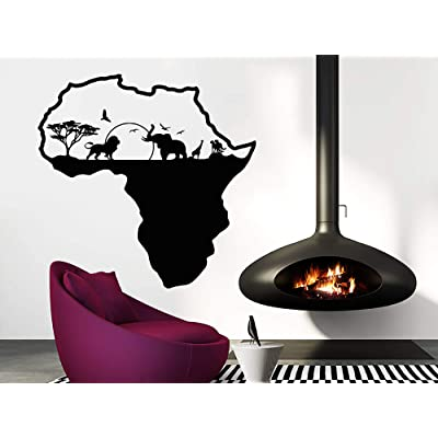 African Safari Wall Decal African Map Vinyl Stickers Animals Housewares Art Interior Nursery Bedroom Removable Home Decor C553: Home & Kitchen