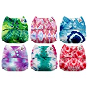 Mama Koala One Size Baby Washable Reusable Pocket Cloth Diapers, 6 Pack with 6 One Size Microfiber Inserts (Tie Dye)