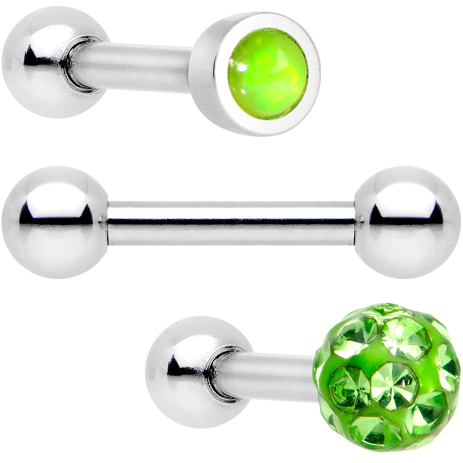 One Size Body Candy Womens Steel Lime Green Dazzling Flat Cartilage Tragus Earring Set of 3 16 Gauge 1//4 Body Piercing Barbell