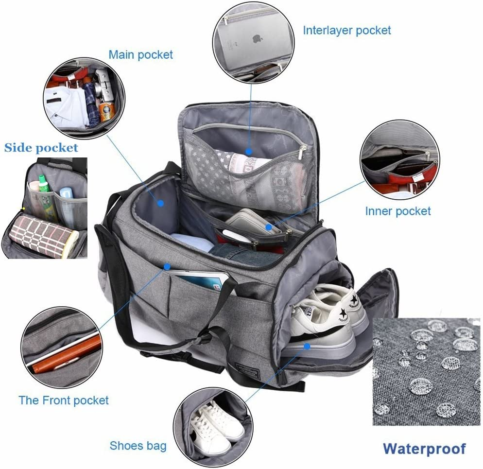 Multipockets Waterproof Lightweight Large Capacity 40L Anti-theft with Combination Lock Shoulder Backpack Handbag 3 in 1 Design Gym Duffels Bag for Sport and Travel with Shoe Compartment