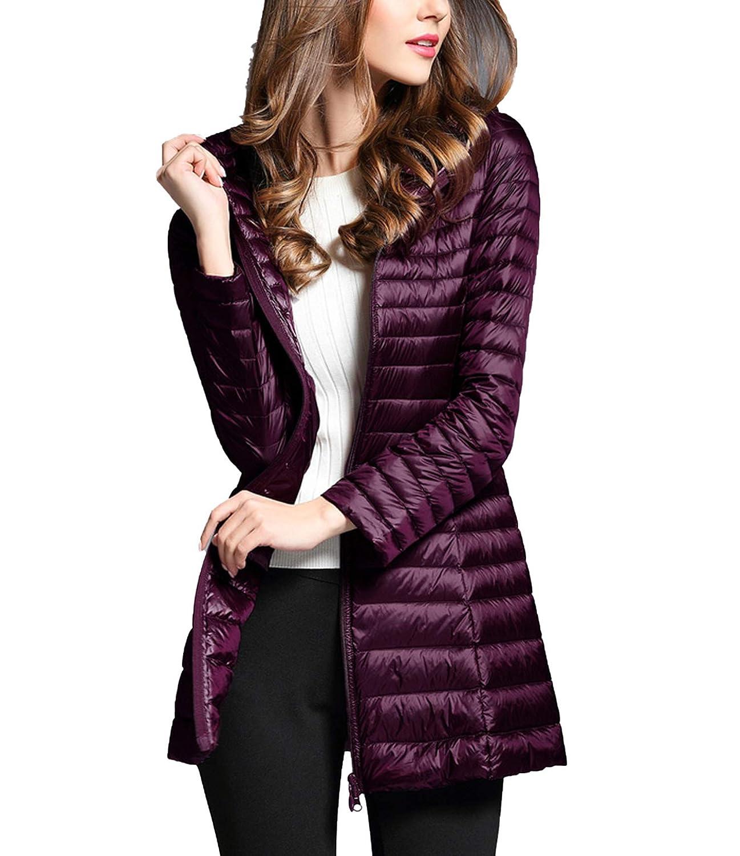 Purple Women's Spring Hooded White Duck Jacket Down Light Woman Coat Jackets Portable Coat Parkas