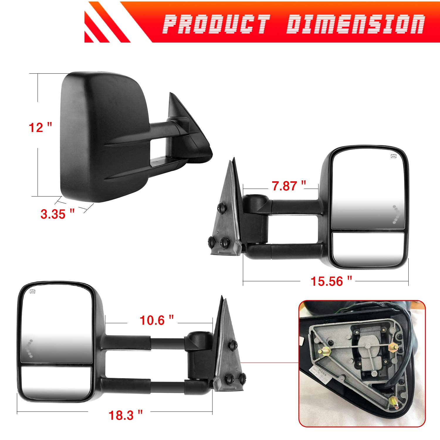 2 PCS AAIWA Side Mirror Power Heated with Arrow Signal Light for 2003-2007 Chevrolet GMC Sierra Silverado Towing Mirrors for Chevy