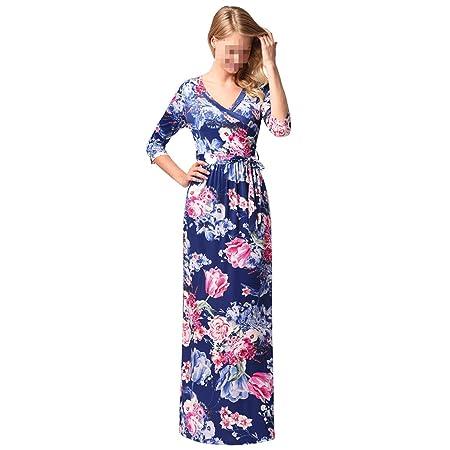 EALSN Women Boho Floral Long Sleeve Dress Ladies Evening Party Long Maxi Dress,Blue-
