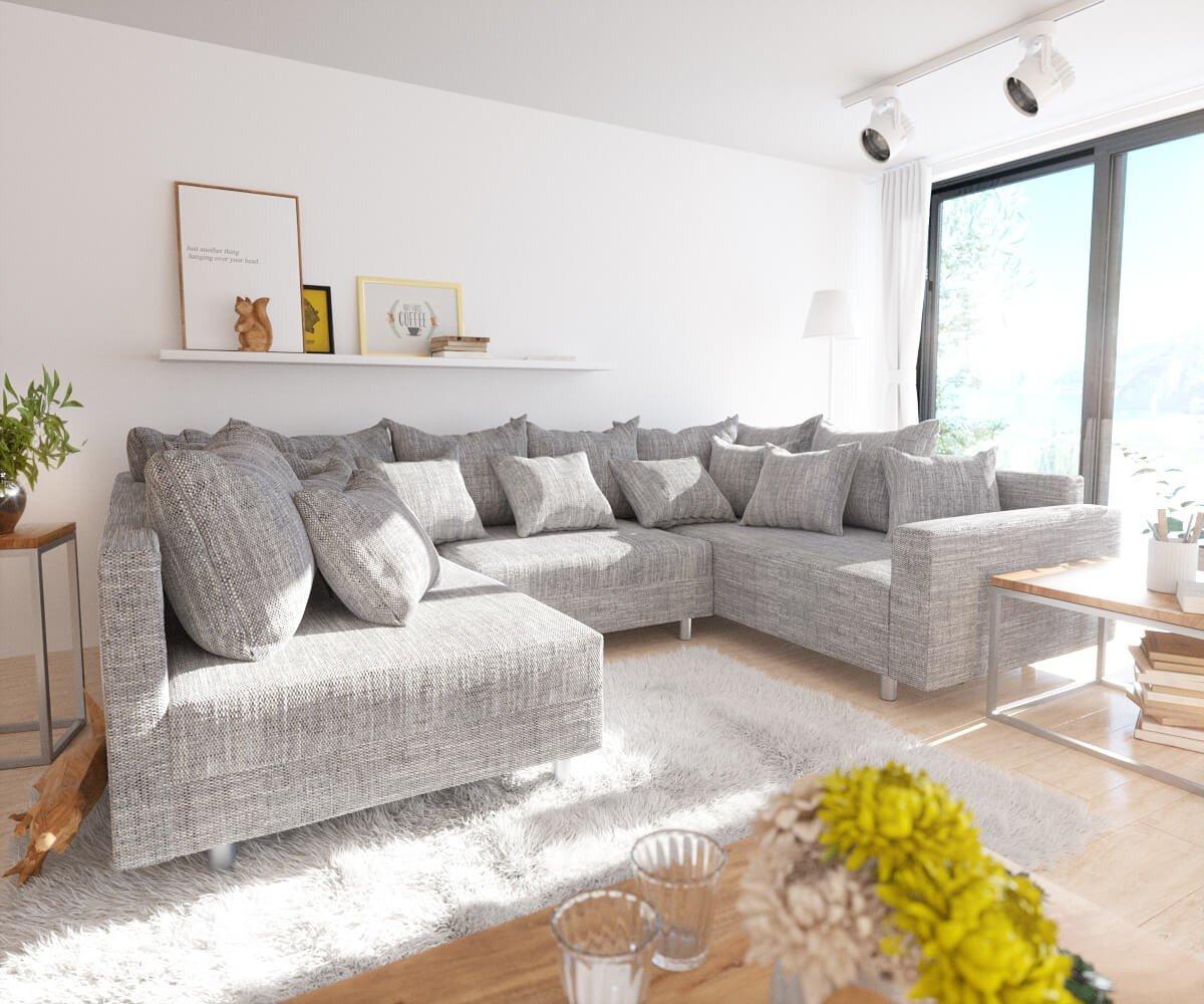 Couch Clovis Hellgrau Strukturstoff mit Armlehne Wohnlandschaft modular