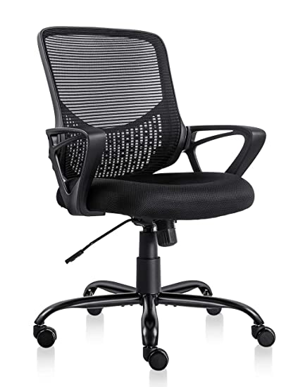 Peachy Pto Furniture Ergonomic Office Chair Lumbar Support Mesh Chair Computer Desk Task Chair With Armrests Black Download Free Architecture Designs Estepponolmadebymaigaardcom