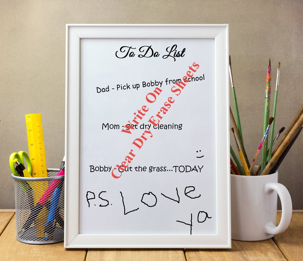 Clear Dry Erase Sheets (8.5'' x 11''): Premium Heavy Duty 2.5 mil Wall Vinyl Dry Erase Paper Sheets - Peel and Stick Dry Erase Sheets - Dry Erase Decals w/ Square or Round Corners (USA Made!) by WallDecalsAndArt