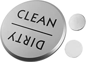 "TOPNIKE Clean or Dirty Dishwasher Magnet, Diameter 2.75"", with 2 of Round Magnets and a VHB Tape, 1 Pack, (Silver Aluminum)"