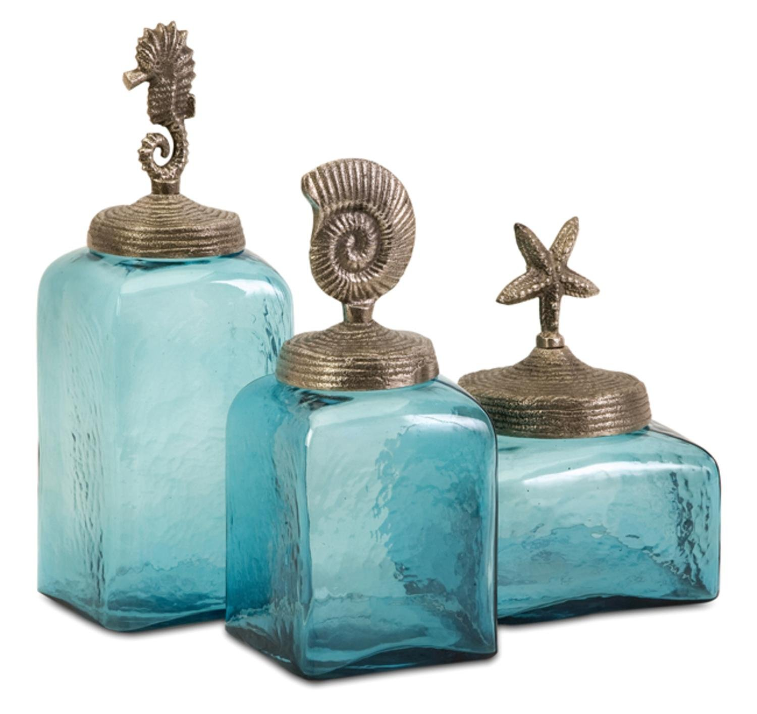 Set of 3 Ocean Blue Glass Canister Jars with Starfish, Seahorse and Shell Lids by CC Home Furnishings