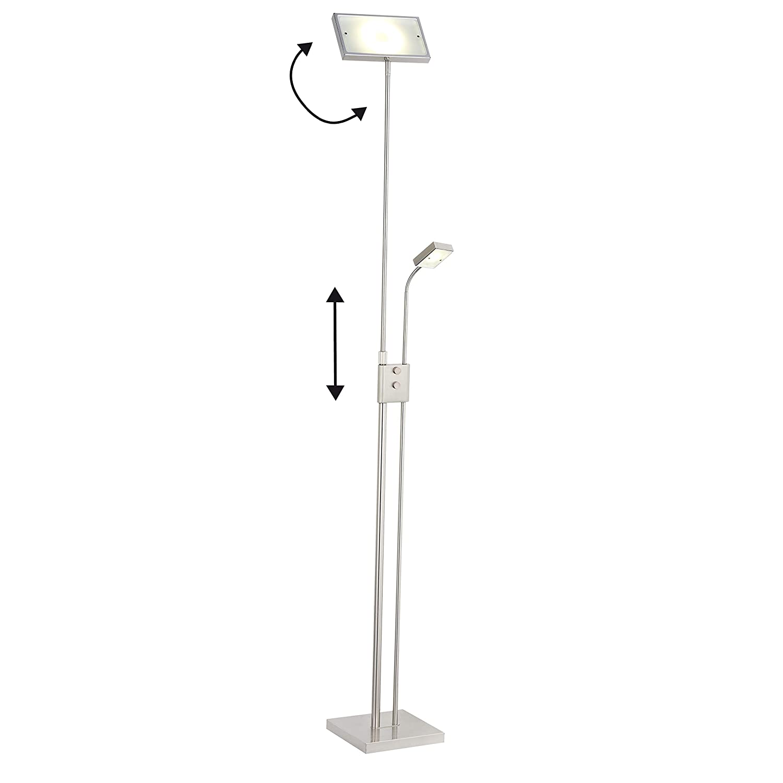 Brilliant – Lámpara de pie con brazo de lectura, metal, 19 W, hierro, 73,5 x 40 x 192 cm