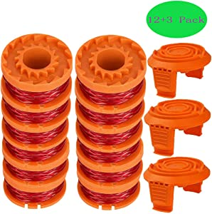 """TOPEMAI WA0010 Replacement Trimmer Spool Line 0.065"""" for Worx WG154 WG163 WG160 WG180 WG175 WG155 WG151 String Trimmer (12 Spools + 3 Caps)"""