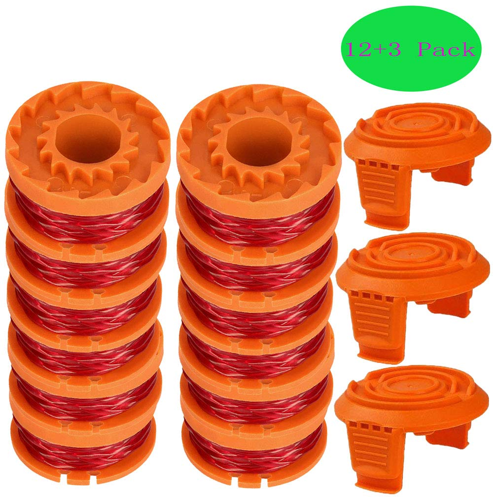 TOPEMAI WA0010 Replacement Trimmer Spool Line 0.065'' for Worx WG154 WG163 WG160 WG180 WG175 WG155 WG151 String Trimmer (12 Spools + 3 Caps) by TOPEMAI