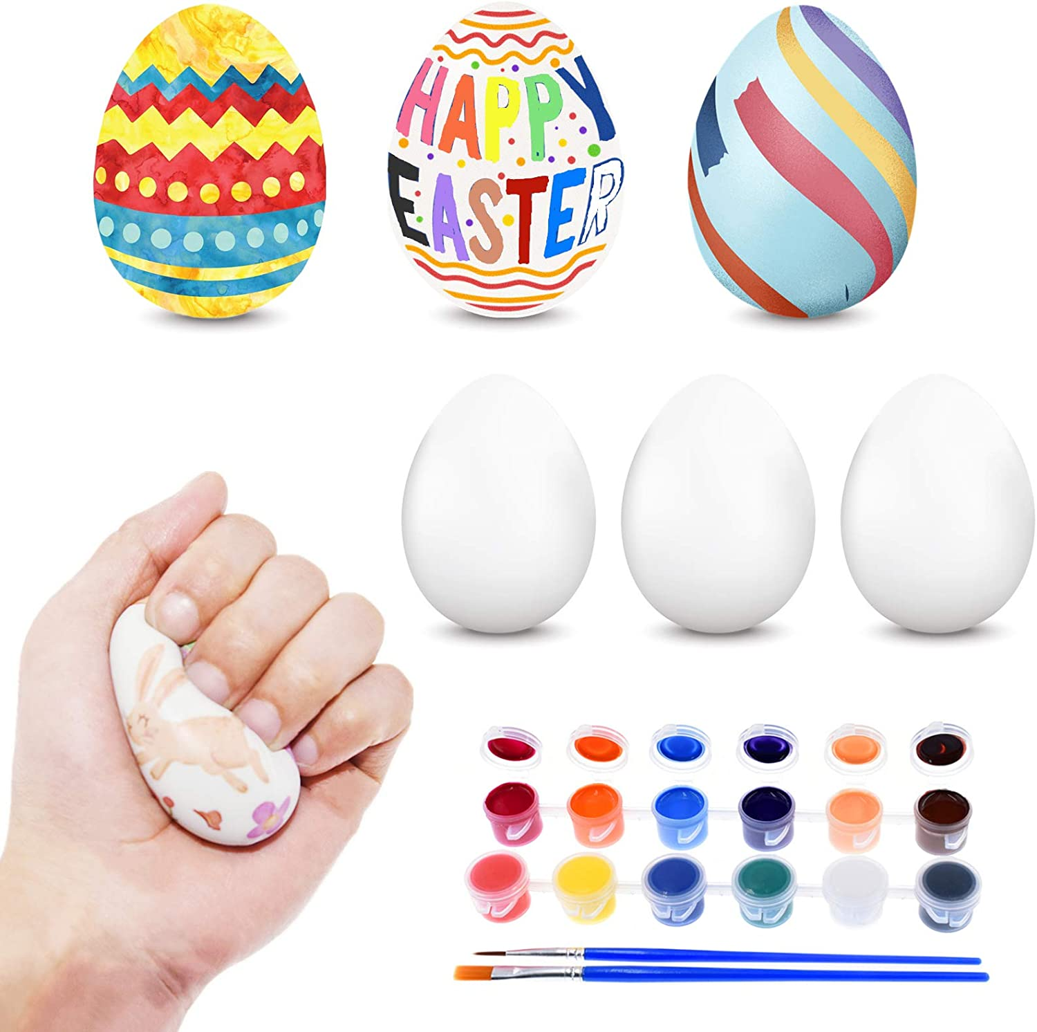 EXRIZU 6 Pack Easter Eggs Crafts Paint Squishy Eggs DIY Arts and Crafts Slow Rising Squishies Toys for Kids Boys Girls Easter Basket Stuffers Gifts Party Favors