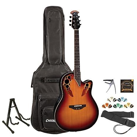 Ovation 2778 ax-neb acústica/guitarra eléctrica w/soporte, correa, cuerdas