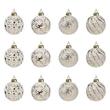 Christbaumkugeln Weiß Gold.Multistore 2002 12 Stück Weihnachtskugeln ø6cm 2 Sorten Weiß Und