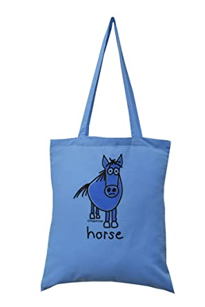 5faec184827b HORSE cotton blue tote bag  Amazon.co.uk  Clothing