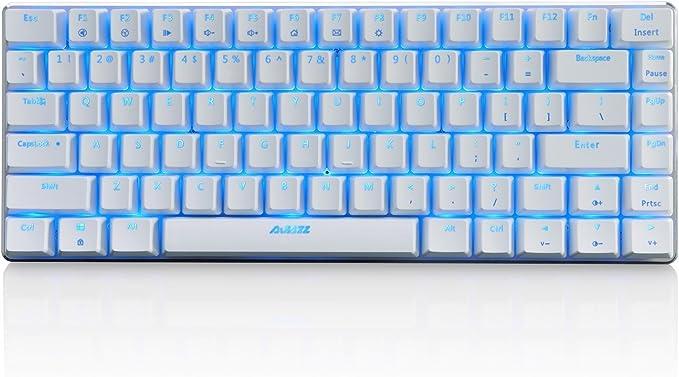 Teclado mecánico AK33 de Lexon tech, teclado para juegos con cable USB con retroiluminación LED azul, teclado compactos de 82 teclas, interruptores ...