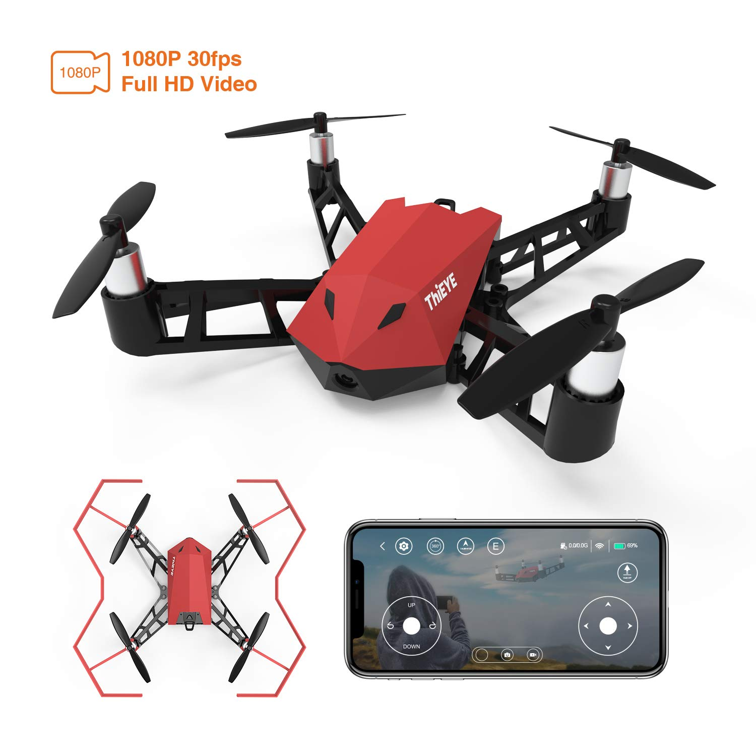 Quadcopter Drone with 1080P Camera, THiEYE Dr.X Full HD RC Drones with 2.4G WiFi APP Control, One Key Take Off/Landing, Failsafe Protection for Kids and Beginners