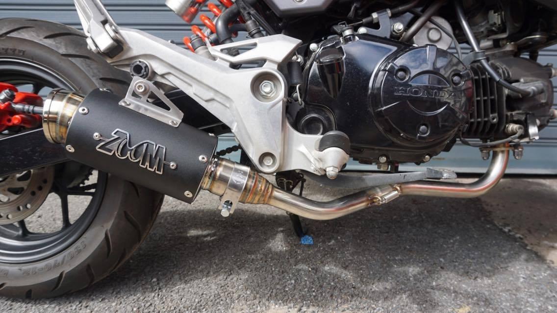 ZoOM Exhaust Honda MSX 125 GROM 125SF 2013-2019 Full System Low Mount Black 2SLZ