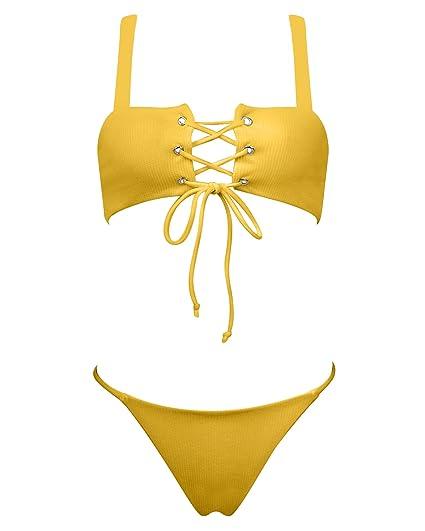 227d39f28f7 Amazon.com: MOSHENGQI Ribbed Lace Up Women Summer Sexy Swimsuit Bathing  Suit Bikini Set: Clothing