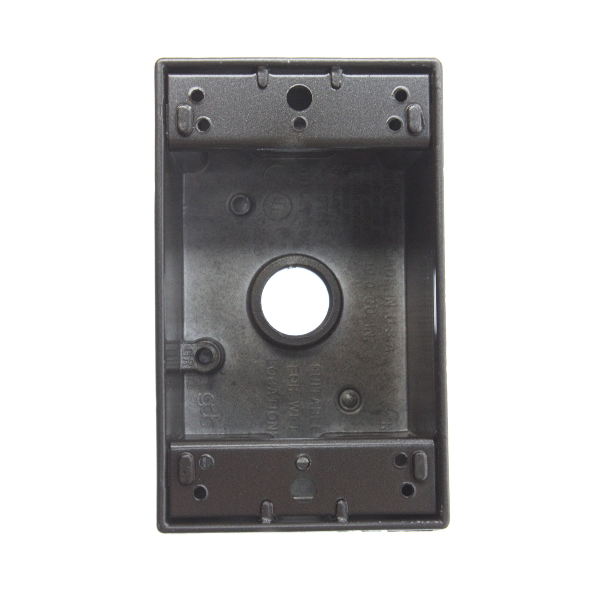 Pass & Seymour WPB24-BR 1-Gang Weatherproof Outlet Box, (4) 1/2'' Holes, Bronze