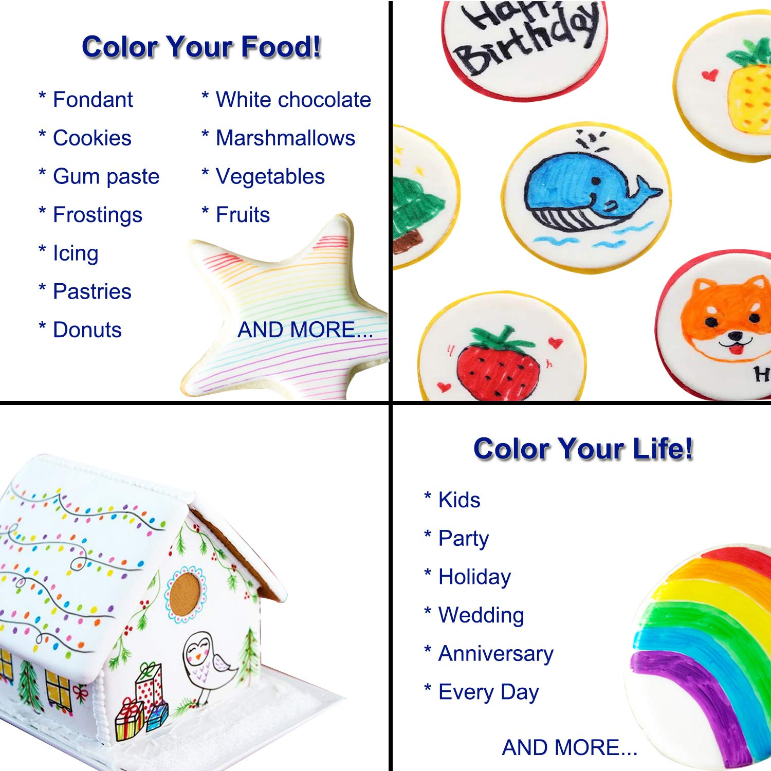Food coloring Pens, 11Pcs Double Sided Food Grade and Edible Marker,Gourmet Writers for Decorating Fondant,Cakes, Cookies, Frosting, Easter Eggs, Thick Tip and Fine Tip, 10 Colors, by Edibleink by EdibleInk (Image #5)