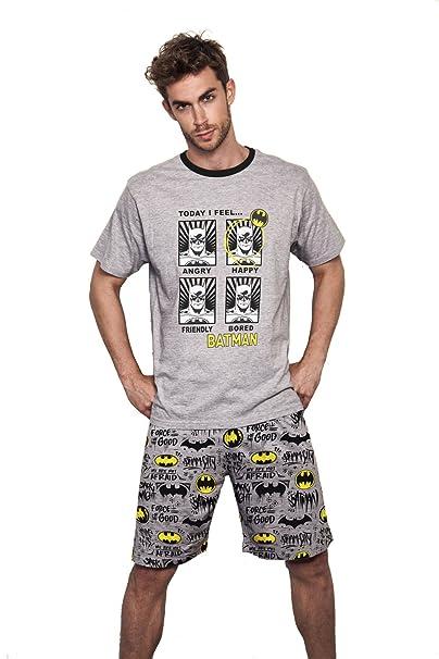 Batman - Pijama Corto Para Hombre, Color Gris Jaspe, Talla Xxl
