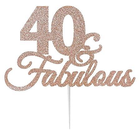 LissieLou 40 & Fabulous Cake Topper - Tarjeta de ...