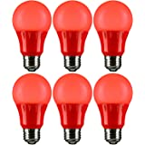 Sunlite A19/3W/R/LED/6PK LED Colored A19 3W Light Bulbs with Medium (E26) Base (6 Pack), Red