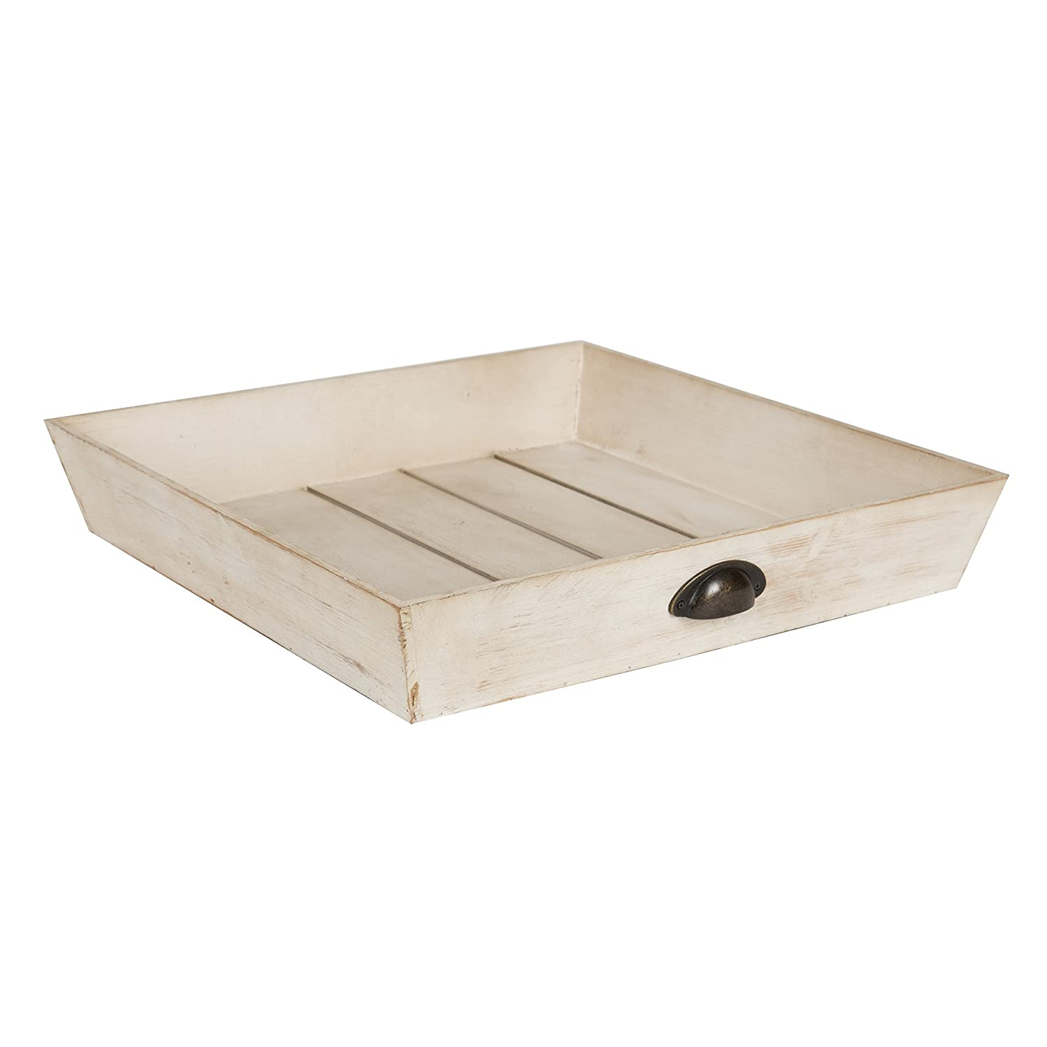 Kate and Laurel Woodmont Distressed Wood Square Ottoman Tray, Antique White