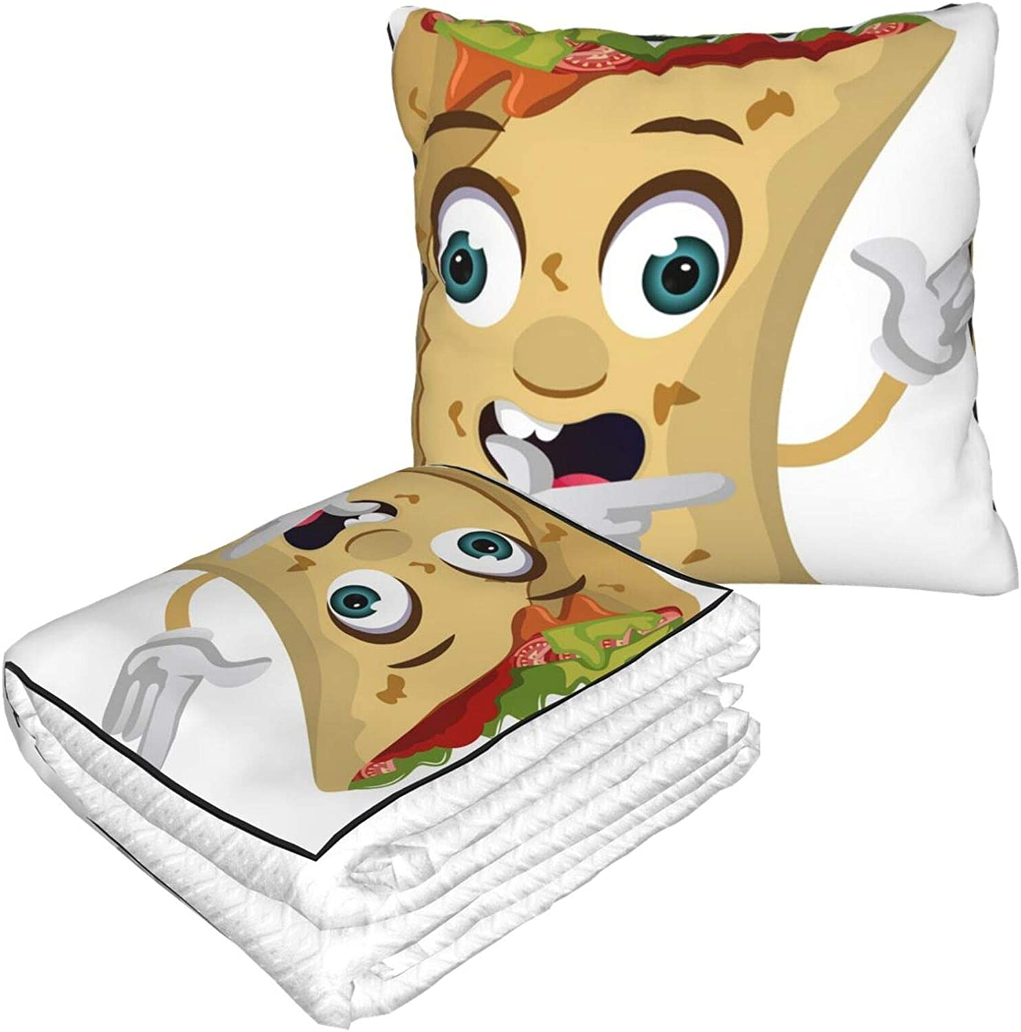 Funny Cartoon Cute Burrito Food Travel Blanket and Pillow | Warm Soft Fleece 2-in-1 Combo Blanket for Airplane, Camping, Car Trips | Large Compact Blanket Set