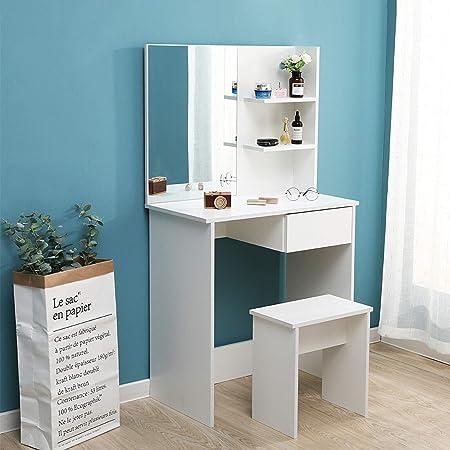 Sanery - Mesa de tocador con Taburete y Espejo, 1 cajón y ...