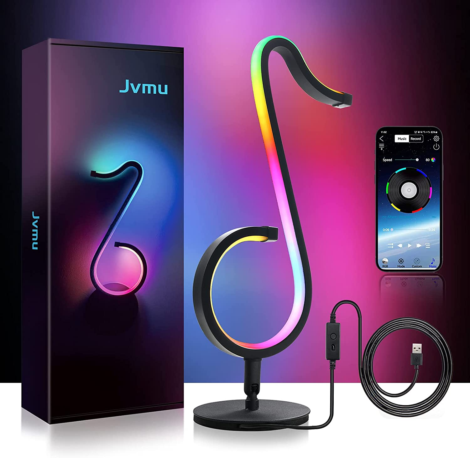 JVMU Table-Wall Modern-Lamp Music-Dimmable Smart-LED - 210 Mode APP Control Atmosphere Decor, Music Record Sync, Media Moment Live Streaming Background, USB Adapter, Bright 10W Lamp