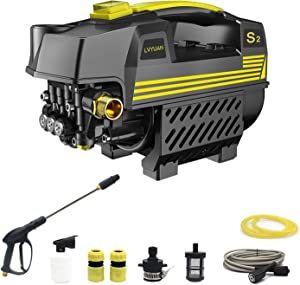 LVYUAN Pressure Washer Power Pressure Cleaner 1200 PSI 1500W Electric BRUSHLESS Technology |Ultra Low Sound | Pure Copper Motor| Power Efficient | Super Lightweight for Vehicle, Home, Garden, Barbecue