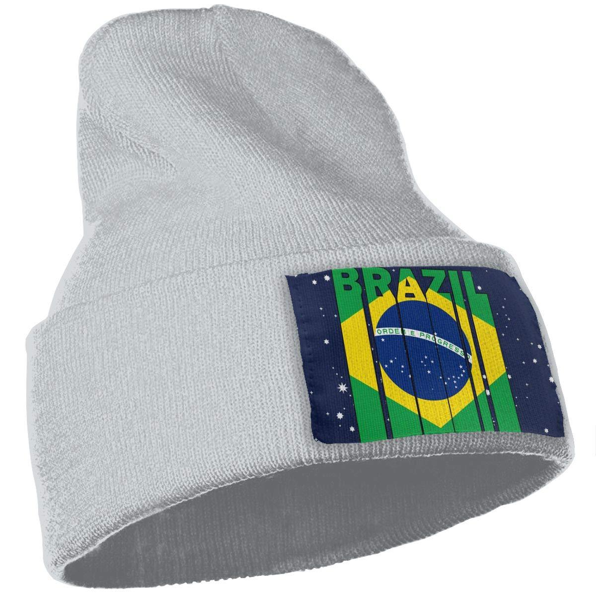 Brazil Flag Word Skull Cap Men /& Women Knitting Hats Stretchy /& Soft Beanie