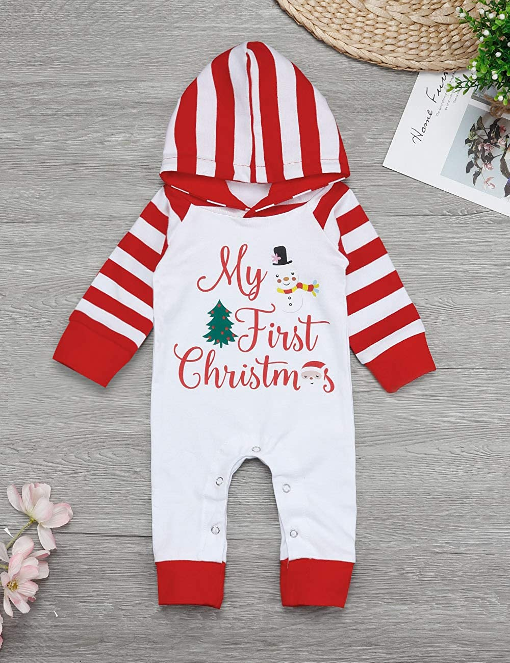 Yiner Baby Christmas Outfits Newborn Baby Boy Girls My First Christmas Romper Hoodie Printing Jumpsuit Pajamas