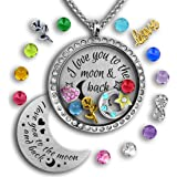 I Love You To The Moon And Back Necklace | Mother Daughter Gifts Floating Charm Necklace | Father daughter Gifts | Charms & Locket Jewelry Set | Mother Daughter Necklace | Charm Necklace for Girls