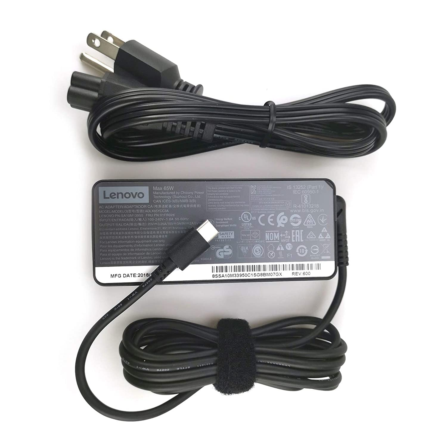 New Laptop Charger 65W watt USB Type C(USB-C) AC Power Adapter for Lenovo ThinkPad Yoga Flex Miix
