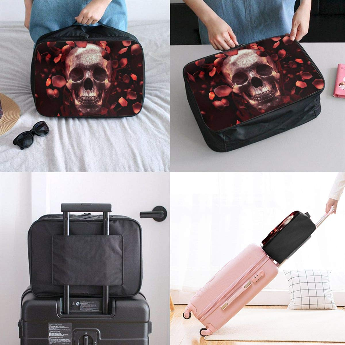 Skull With Rose Petals In Dark Travel Lightweight Waterproof Foldable Storage Portable Luggage Duffle Tote Bag Large Capacity In Trolley Handle Bags 6x11x15 Inch