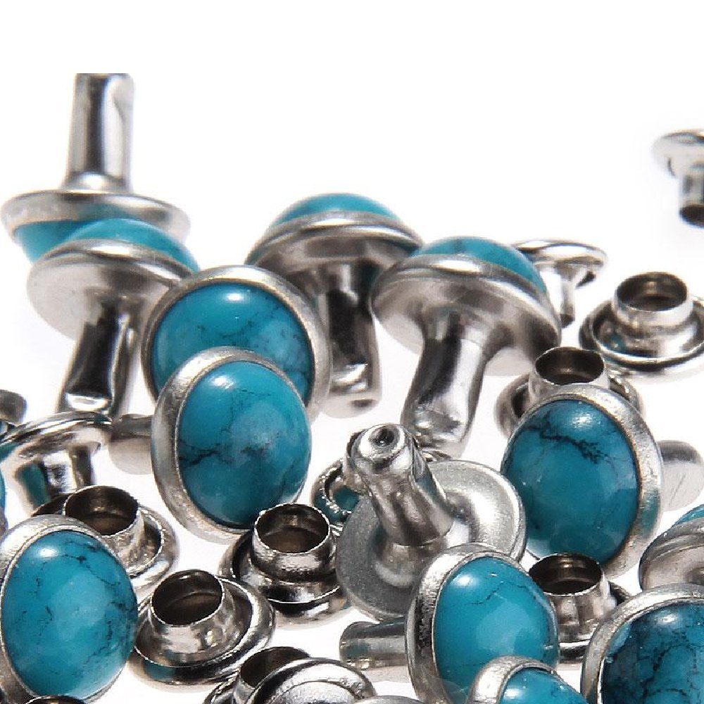 RUBYCA Blue Turquoise Rapid Rivets Studs DIY Leather-Craft for Bag Shoes Bracelet Tandy Leather 10MM 100pcs 4336863929