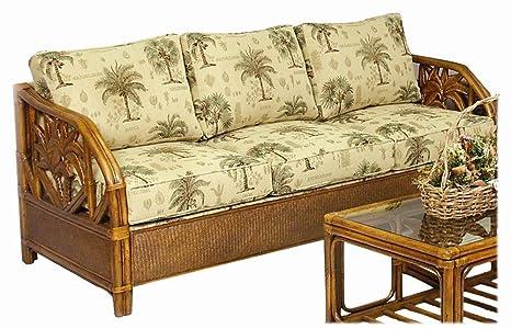 Amazon.com: Ratán y mimbre sofá cama en TC acabado antiguo w ...