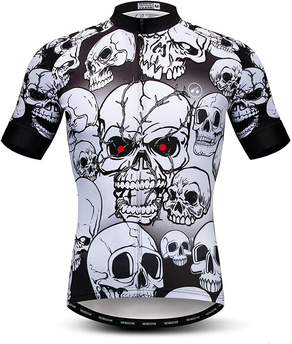 Skull Style Men Cycling Jerseys Super Breathable Bicycle Shirts Summer Bike Tops