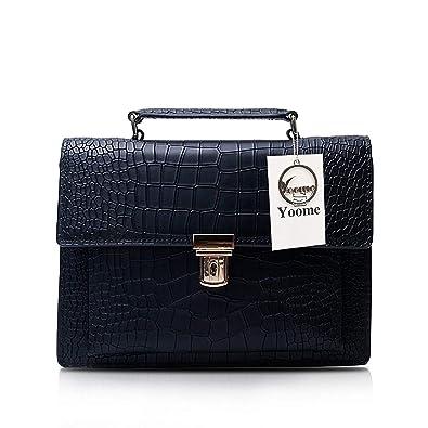 ... Yoome Wild Style Snake Pattern Women Leather Handbag Retro Messenger Bag  Flap Handle Satchel - Black ... 3296abfcf8e3a