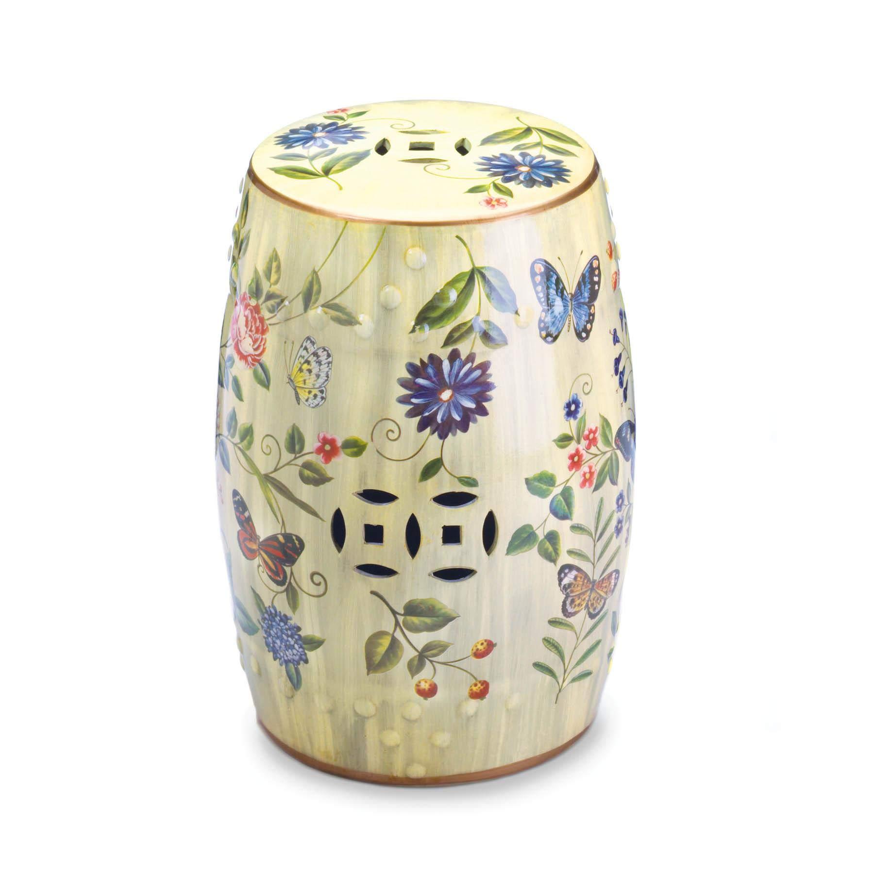 Smart Living Company 10017413 Butterfly Garden Ceramic Stool