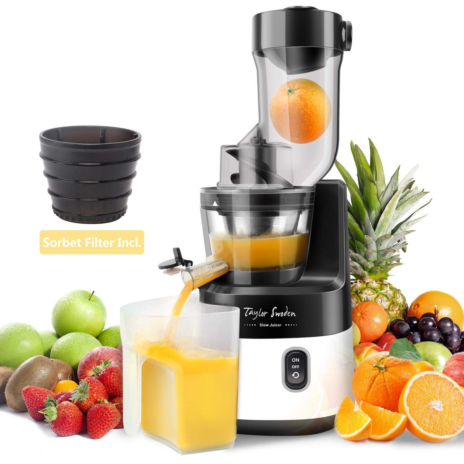 Slow Juicer Machine Extractor with Slow Cold Press Masticating Squeezer Mechanism Technology 200W for Juice and Sorbet Taylor Swoden by Taylor Swoden