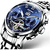 Swiss Men's Stainless Steel Blue Tourbillon Automatic Mechanical Watch