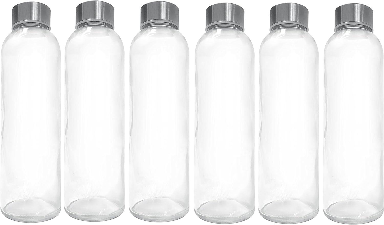 Ewei's Homeware 6 Pack - 18oz Leak-Proof Juice Containers, Glass Water Beverage Bottles