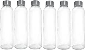 Ewei's Homeware 6 Pack - 18oz Leak-Proof Juice Containers, Glass Water Beverage Bottles