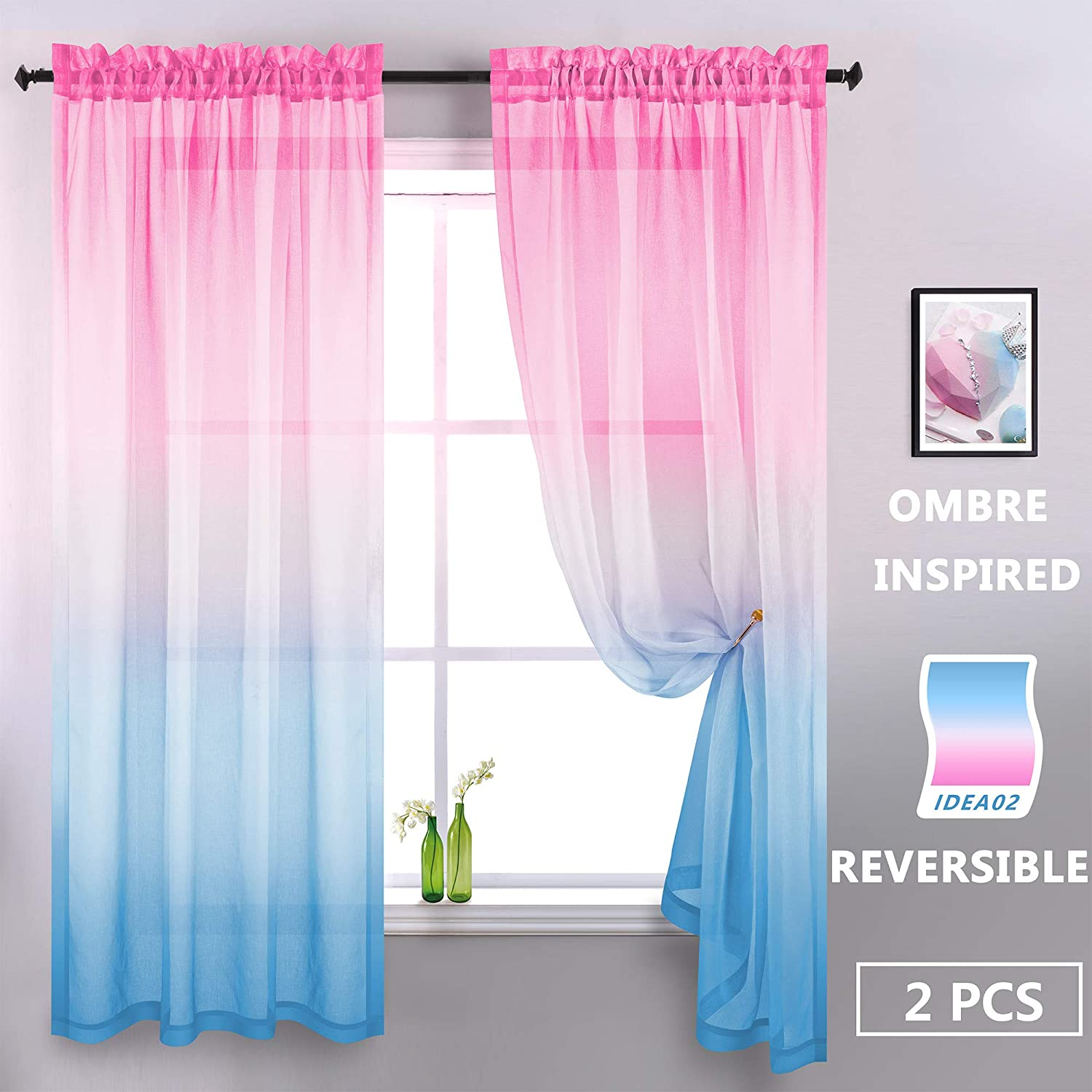 KOUFALL Pink and Blue Curtains for Girls Bedroom Set of 2 Panels Rod Pocket Window Pink and Blue Sheer Curtains for Girls Room Decor Kids Nursery Decoration 52 x 63 Inch Length