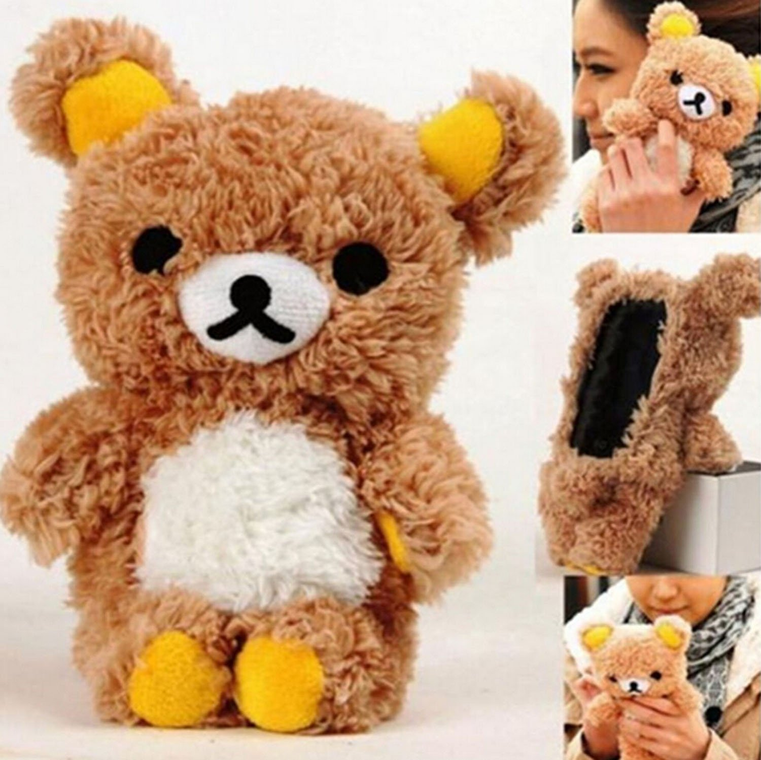 Amazon.com: Galaxy S6 Edge case,Emilys fashion Cute 3D Lovely Teddy Bear Doll Toy Cool Plush Fitted Back Phone case Fur Hair Plush Cover for Samsung Galaxy ...