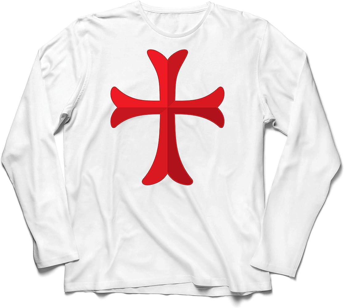 lepni.me Camiseta de Manga Larga para Hombre El Caballero Templario de la Cruz Roja, el Templo de la Orden de Salomón (XS Blanco Multicolor): Amazon.es: Ropa y accesorios